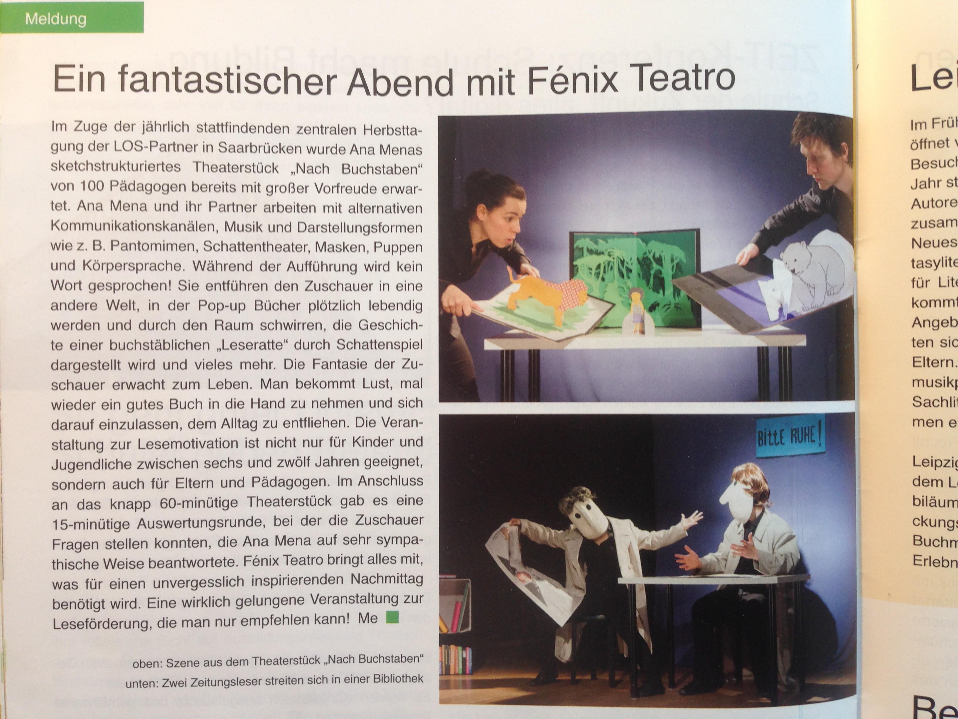 1. Wortspiegel 2016 -  Artikel Fenix Teatro